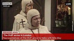 Representatives of the DUP arrive in London for talks with Theresa May.
