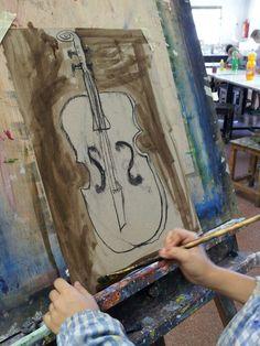 Taller de dibuix i pintura durant el curset de juliol 2014/15. www.escolatrac.com