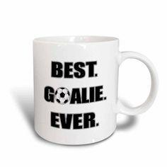 3dRose Best Goalie Ever - Black and White, Ceramic Mug, 11-ounce