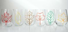 Fall Leaves Stemless Wine GlassesSet of 6 by MaryElizabethArts, $58.00