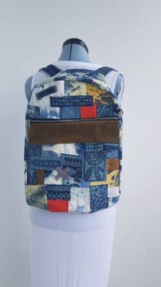 7d4b0efa602f Denim and Corduroy backpack with tie dye denim and custom patches One of a  Kind look