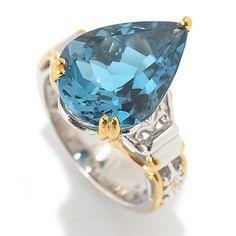 152-989 - Gems en Vogue 8.70ctw Pear Shaped London Blue Topaz Ring