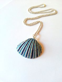 Hand painted seashell necklace. use pearlized shades of blue in shell grooves