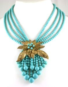 Early Miriam Haskell Book Piece Aqua Glass Necklace with Gilt Leaves Frank Hess | eBay