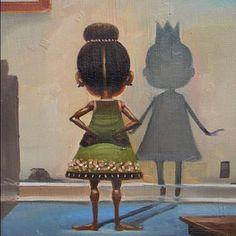 Painting by the artist Frank Morrison called I See A Queen Black Girl Art, Black Women Art, Art Girl, Black Girls, Black Child, African American Art, African Art, Natural Hair Art, Natural Hair Styles