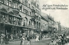 Fasnet am Friedrichsbau - Postkarte des Friedrichsbau Freiburg mit Narren. Das Aufnahmedatum ist nicht genau bekannt. Dürfte grob um das Jahr 1910 liegen. Wie in der Zeit durchaus üblich, sind auch hier viele Figuren hinein montiert. Vielen Dank an die Sammlung Oehler   /*  */