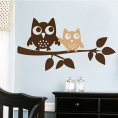 Owls On A Branch Wall Decal - http://www.theboysdepot.com/owls-on-a-branch-wall-decal.html