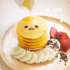Gude tama but with pancakes Cute Food, Good Food, Yummy Food, Cute Desserts, Dessert Recipes, Kawaii Cooking, Cute Baking, Kawaii Dessert, Bento