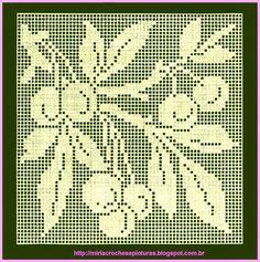 MIRIA CROCHÊS E PINTURAS: ESQUEMA PARA CROCHÊ COM MOTIVOS DE FRUTAS...Large,filet crochet motif with charts!