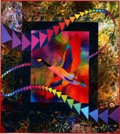 Solo Flight © 1997, art quilt by Caryl Bryer Fallert, Paducah KY
