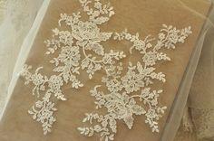 ivory Alencon lace applique pair for wedding veil by lacetime
