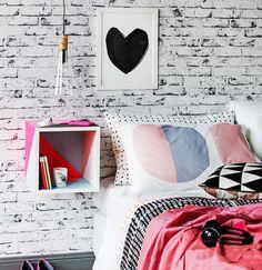 Tijolo aparente na parede / decoração de quartos