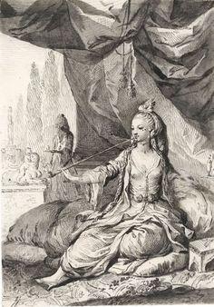 'Mujer oriental bajo un toldo', dibujo de José Camarón y Bononat (214 x 149 mm.) c. 1771-1780  THE BRITISH MUSEUM