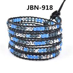 new arrival black leather wrap bracelet  mix crystal  stone beaded waving bangles  handmade jewelry charm beads bracelet JBN-918