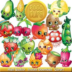 80 Shopkins Fruit and Vegetables Characters / Clip Art DIY Instant Download Printable High Quality PNG Transparent Files