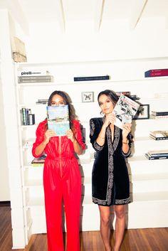 Chloe & MarieLou Bartoli / Chloé: vintage Oscar de la Renta jumpsuit; on Marielou: Kayat jacket