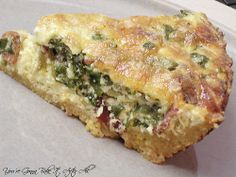 Turkey Bacon & Spinach Quiche Ingredients: 1 pie crust 4 eggs 2 c. skim milk 6 strips turkey bacon cooked, broken into dime-sized pieces 10oz pkg frozen spinach, thawed, all water squeezed out 1/2 c. shredded Swiss cheese +more for topping Salt & pepper Directions: 1. Prepare crust. Preheat oven to 350F 2. In large bowl whisk together eggs & milk. Stir in other ingredients & pour into prepared crust.  3. Top quiche with shredded Swiss cheese 4. Bake at 350F ~40 minutes or until slightly…