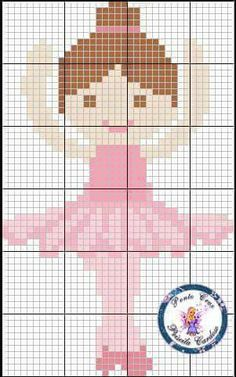 ballerina ballet - Ale M Simple Cross Stitch, Beaded Cross Stitch, Cross Stitch Baby, Cross Stitch Embroidery, Cross Stitch Patterns, Quilt Patterns, Crochet Patterns, Crochet Quilt, Cross Stitch Alphabet
