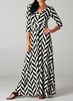 Long Sleeve Maxi Dress Black & White Chevron Pattern