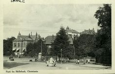 Christiania Kristiania Skillebæk Skillebekk. Park og større bolighus, glanset papir Utg C.A.E. Brukt 1912