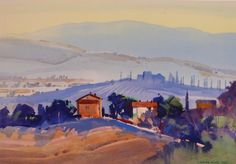 Stephen Quiller, View from Bagno Vignoni, September Fields, watercolor and gouache