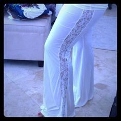 NWOT Cream foldover wide leg pants Brand new and never worn other than to take this pic and try them on. I purchased these Cream Knit foldover wide leg pants from a boutique Miami but they are just a little snug. They have the hottest lace cut out down the leg. They will be much cuter on you!!  Sugar Lips Pants Wide Leg