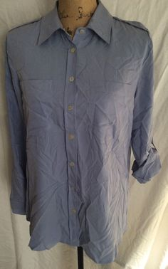 Chicos Button Down Blouse Very Silky Size 1 Lt Blue Long Or 3/4 Sleeve #Chicos #ButtonDownShirt #Casual