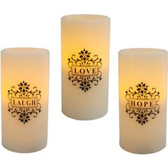 "Great idea for centerpiece but as real candles, not flameless.  Inspirational 3"" x 6"" Flameless LED Pillar Candles, Love Laugh Hope, Set of 3"