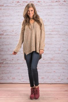 """Care For Cozy Sweater, Taupe"" Oh em gee!!! We can't even with this sweater right now!! Not only is the fit perfectly over-sized and not only does the taupe fabric speckled with pops of color... it's has sequins!! #newarrivals #shopthemint"