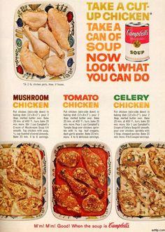 Vintage Food Advertisements of the 1960s Mushroom Chicken ~ Tomato Chicken ~ Celery Chicken