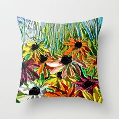 Pillow cover flowers art by Aja 16x16 or 18x18 Stories From A Field 229