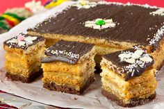 Mazurka with four layers Polish Desserts, Polish Recipes, No Bake Desserts, Polish Food, Sweet Recipes, Cake Recipes, Dessert Recipes, Easter In Poland, Polish Easter Traditions