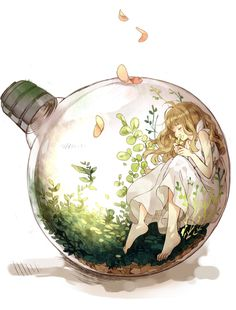 Anime girl in bottle