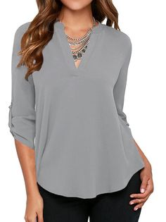 ae12b80971f1ab Women s Casual V Neck Cuffed Sleeves Solid Chiffon Blouse Top