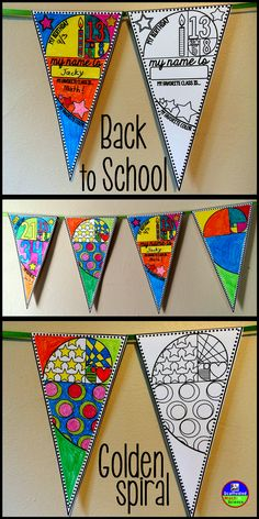 A Golden Spiral and Fibonacci-themed Back to School pennant for all ages (6 styles)