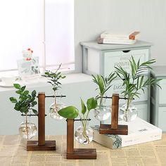 Its designed for your house interior ornament. Material: Borosilicate Glass Shape and Size:pictured A has one glass container, B has two glass containers, C has 2 glass containers. ♥Note: You will receive empty vase and vase wooden frame.♥ Clean the air, the walls are your garden. It can hold