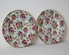 SALE - Royal Winton Plates - 1930's Royal Winton 'Summertime' Chintz pair of plates