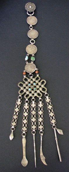 TIBETAN - CHATELAINE - Turquoise, Coral, Beads, Tibetan Srang Silver Coins. 1930's