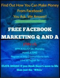 Teaching You Facebook Marketing - In TAGLISH! Register for free Webinar at http://jomarhilario.com
