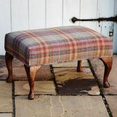 Large Footstool - Tartan Abraham Moon Threshfield Rhodolite Fabric by FlossysFootstools on Etsy Large Footstools, Ottomans, Scottish Decor, Upholstered Footstool, Settee, Shabby, Wabi Sabi, Soft Furnishings, Upholstery