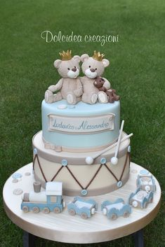 Cute twins cake by Dolcidea creazioni Torta Baby Shower, Baby Shower Cakes For Boys, Baby Boy Cakes, Twin Baby Shower Cake, Bolo Fack, Boys 1st Birthday Cake, Teddy Bear Cakes, Teddy Bears, Drum Cake