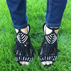 """•Black fringe heels• •The perfect fringe heel for all your holiday events• Cutout strappy vamp• Fringe detail• Dual ankle straps with side buckle closure• Approx. 4"""" heel• Brand new in Box• Shoes Heels"""