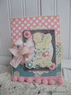 shabby chic EASTER wishes card