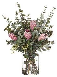Native Mix in Pale Vase Pink Fake Flowers Decor, Artificial Floral Arrangements, Flower Arrangements Simple, Vase Arrangements, Exotic Flowers, Flower Vases, Dried Flowers, Flower Decorations, Beautiful Flowers