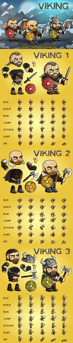 Viking 2D Game Character Sprite Sheet - Sprites Game Assets