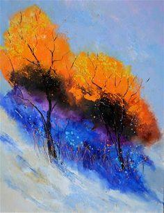 """Two magic trees"" original fine art by Pol Ledent"