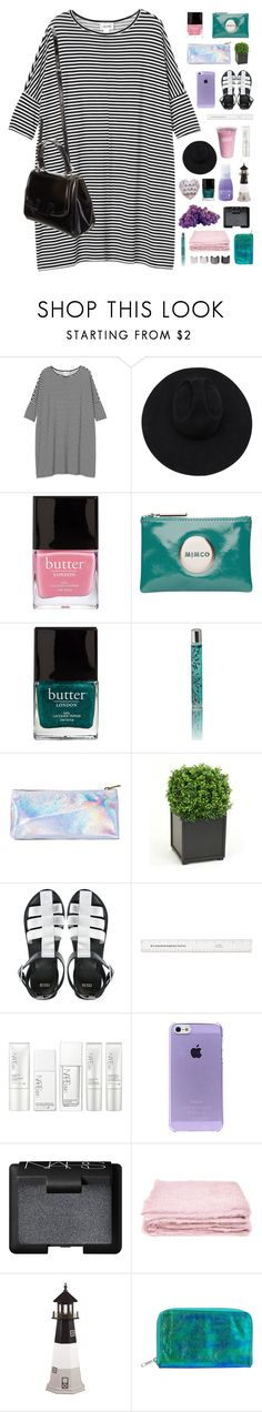 """""""going to a pool party :)"""" by scattered-parts ❤ liked on Polyvore featuring Monki, Gladys Tamez Millinery, Butter London, Mimco, Daytrip, Distinctive Designs, Fendi, ASOS, NARS Cosmetics and Zoya"""
