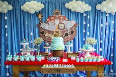 Check out this Noah's Ark Birthday Party on Kara's Party Ideas today! Adorable cake, ark decor, and much more right here! Noahs Ark Cake, Noahs Ark Party, Noahs Ark Theme, Baby Boy 1st Birthday, Boy Birthday Parties, Birthday Party Decorations, Birthday Ideas, Baby Event, Birthday Backdrop