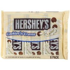 Hershey's White Chocolate Cookies N Creme, 6 Ct Hersheys, Hershey Cookies, Hershey Bar, White Chocolate Cookies, Chocolate Sticks, M&s Chocolates, Cream Candy, Snack Items, Colorful Nails
