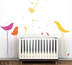 Items similar to Carnival Birds Wall Decal - Yellow, pink, orange and other colors - Kids Wall Decor on Etsy Wall Decals Yellow, Bird Wall Decals, Nursery Wall Decals, Wall Stickers, Mural Wall, Nursery Art, Kids Wall Decor, Room Decor, Headboards For Beds